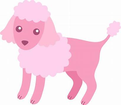 Poodle Pink Clipart Clip Fluffy Dog Cartoon