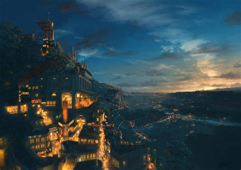 Hd Anime Landscape Wallpaper Anime Original Landscape Tree Light City Cloud Sky Wallpaper