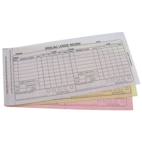 bowling team score book carbonless  part recap sheets