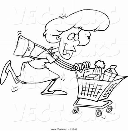 Shopping Grocery Cartoon Coloring Woman Supermarket Sweep