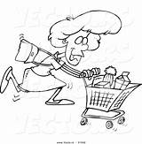Shopping Grocery Cartoon Coloring Woman Supermarket Sweep Drawing Vector Bag Pages Customer Outlined Service Printable Getdrawings Resolution Getcolorings Ron sketch template