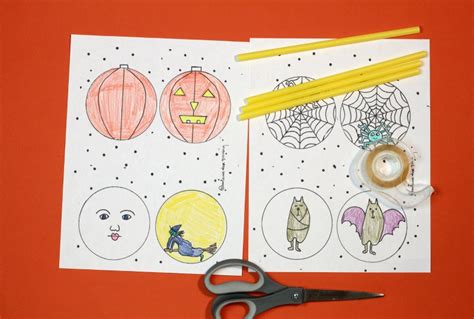 halloween thaumatropes spooky science art project