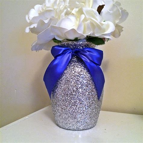 baby shower vases silver vases silver and royal blue baby shower baby shower