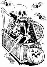 Halloween Skeleton Printable Coloring Pages Adults Hidden Chest Coffer Adult Copy sketch template