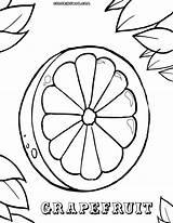 Fruits Vegetables Coloring Grapefruit Colorings sketch template