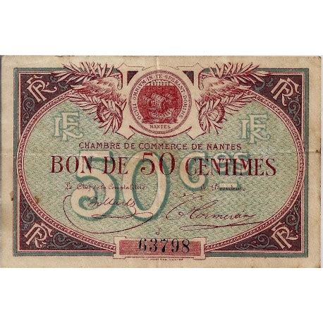 chambre de commerce nantes 44 nantes chambre de commerce 50 centimes 1918