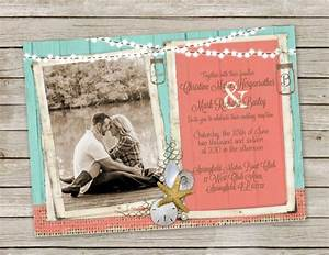 Beach wedding invitation in turquoise and coral mason jars for Mason jar beach wedding invitations