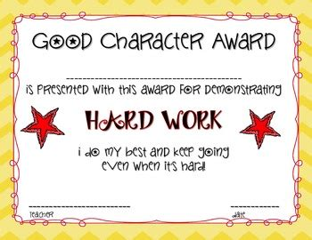 character education award certificates   miles