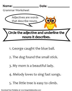 noun and adjective worksheet free printable worksheets adjective worksheet nouns