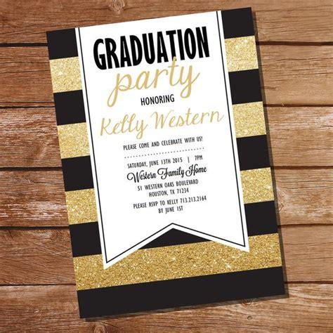 Black and Gold Graduation Invitation Sunshine Parties