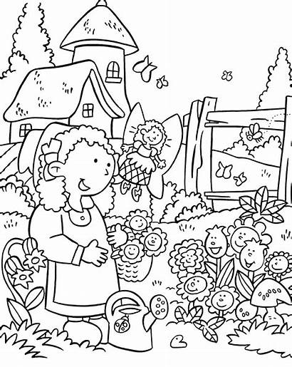 Coloring Garden Pages Flower Clipart Story Labels