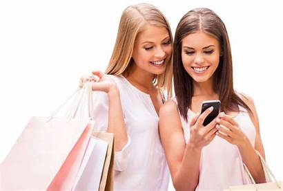 Phone Shopping Looking Happy Woman Scan Shoppers