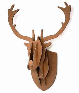cardboard box stag deer head wall hanging With diy cardboard deer head template