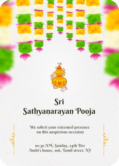sri satyanarayana pooja invitation card design