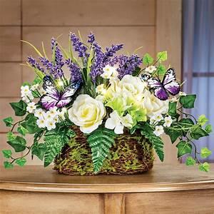 Roses, Faux, Floral, Spring, Tabletop, Arrangement, With, Lights