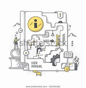 Concept User Manual Tutorial People Exploring Stock Vector