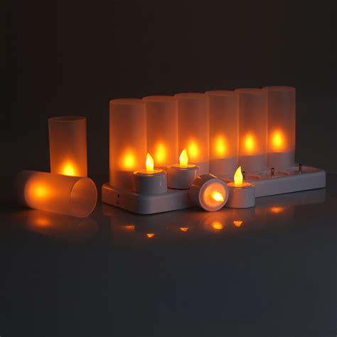 amber led tea lights 12 led candle light rechargeable amber flameless tea light