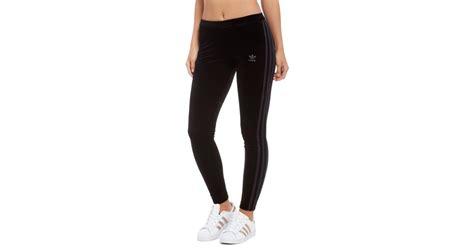 Lyst - Adidas Originals 3-stripes Trefoil Velvet Leggings in Black