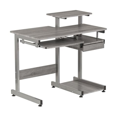 techni mobili grey computer workstation desk with pull
