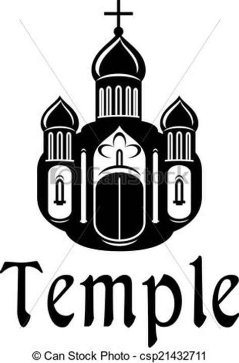Religious temple or church icon. Black and white
