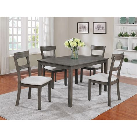 Crown Mark Henderson 2254setgy 5 Piece Dining Table And