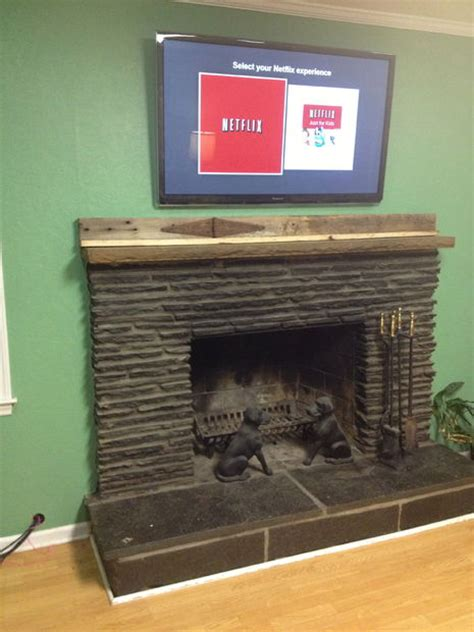 run tv cables   fireplace