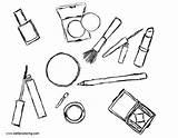 Coloring Makeup Cosmetics Printable Adults sketch template