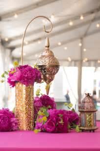 Fuchsia peony gold lantern Moroccan centerpiece Mehndi