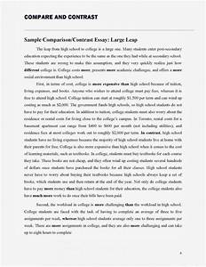 Compare And Contrast Essay Examples High School Creative Writing  Compare And Contrast Essay  School Of Liberal Arts And Sciences