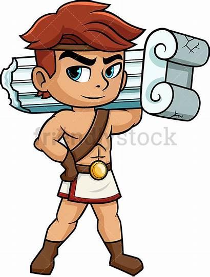 Hercules Zeus Cartoon Son Clipart Greek Vector