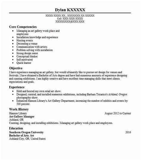 art gallery manager resume sle manager resumes livecareer