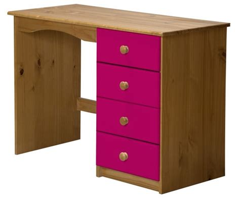 bureau couleur miel bureau enfant pin massif miel et fuchsia aladin