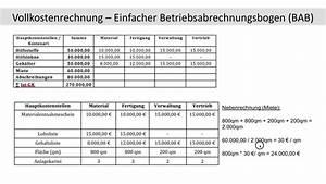Gemeinkosten Berechnen : einfacher betriebsabrechnungsbogen bab berechnung schl ssel verteilung kosten fos bos ~ Themetempest.com Abrechnung