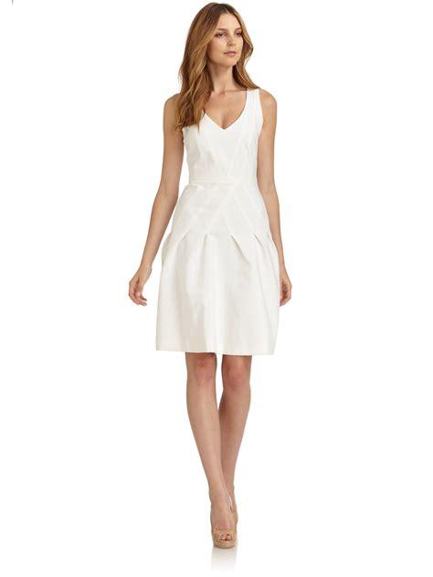 white dresses giorgio armani seamed dress in white lyst