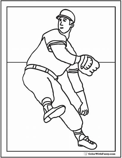 Coloring Baseball Pages Pitcher Printable Sheet Winding