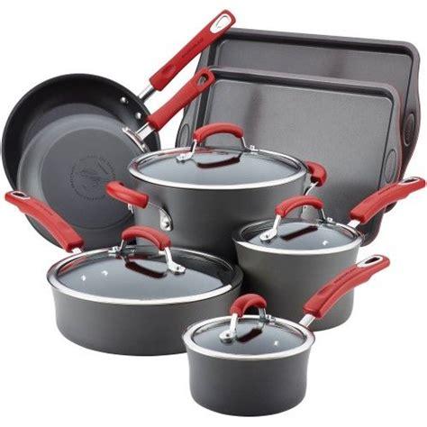 rachael ray hard anodized  stick grey cookware set  red handles  piece cookware set