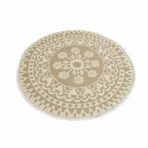 Tapis Rond Beige : tapis rond d150 cm anoki beige tapis de chambre salon eminza ~ Teatrodelosmanantiales.com Idées de Décoration