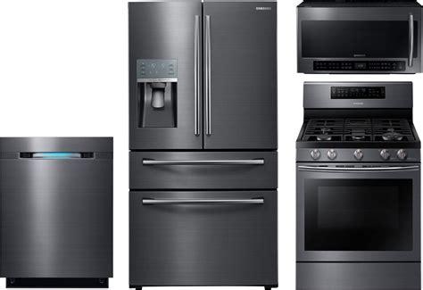 samsung  piece kitchen package  nxjsg gas range rfjbedbsg refrigerator