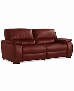Marchella leather dual power reclining sofa furniture for Macy s reclining sectional sofa