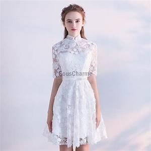 Robe Mi Longue Mariage : robe soir e blanche courte dentelle pour mariage manche mi longue ~ Melissatoandfro.com Idées de Décoration