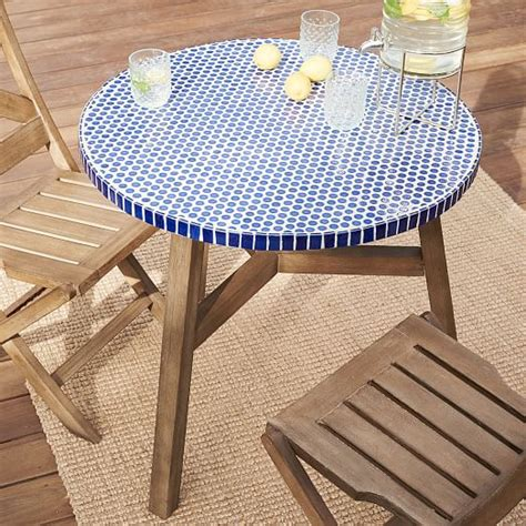 mosaic tiled bistro table blue top driftwood