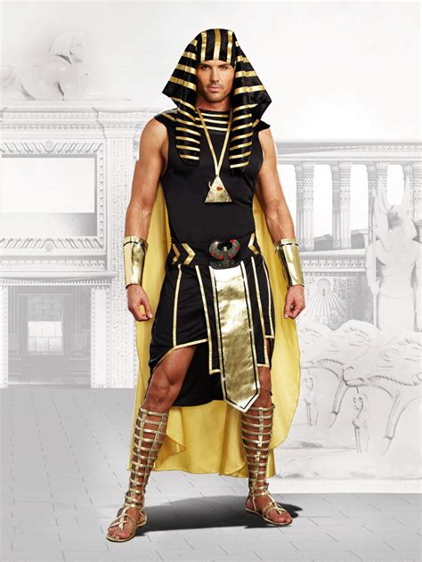 Pharaoh King Tut Mighty Ruler Anubis Halloween Outfit Egyptian Costume Adult Men | eBay