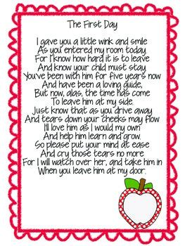welcome to kindergarten poem for parents by the 239 | original 1991817 1