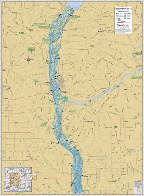 mississippi river pool  wall map