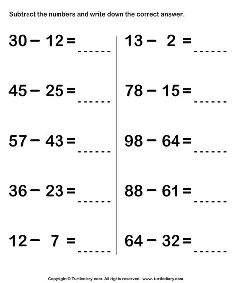 subtract  write difference worksheet turtle diary