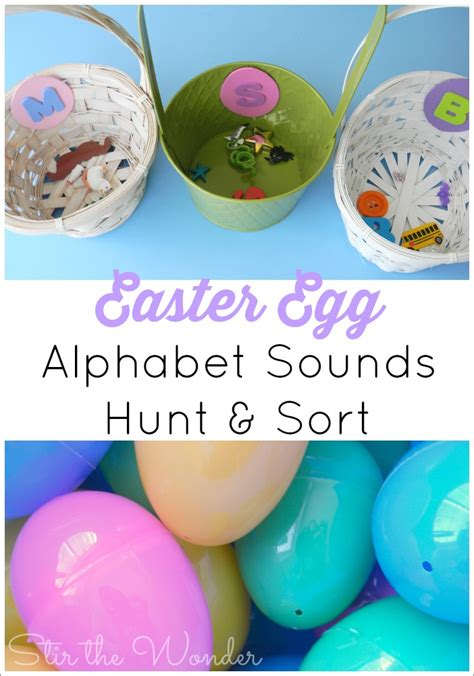 alphabet activities for toddlers amp preschoolers stir the 839 | Easter Egg Alphabet Sounds Hunt Sort