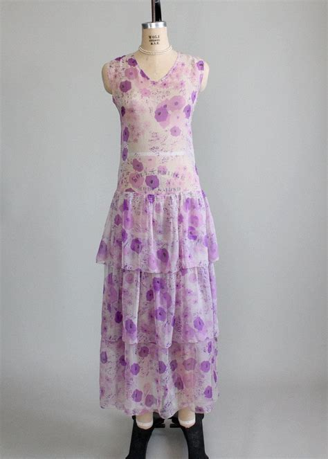vintage  purple pansies chiffon lawn dress raleigh