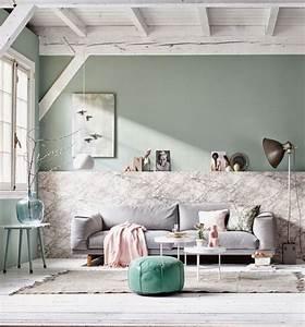 Salon Vert De Gris : salon vert de gris et marbre via vtwonen salon living ~ Melissatoandfro.com Idées de Décoration