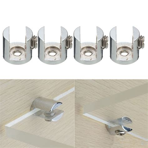 4pcs Shelves Support Brackets Clamp For Glass Wooden