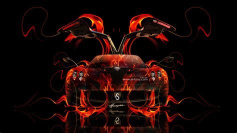 pagani huayra fire abstract car open doors  el tony